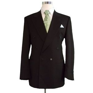 Canali Mens Double Breasted Wool Blazer 42L Black